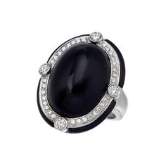 Onyx Cocktail Ring w/ Diamond