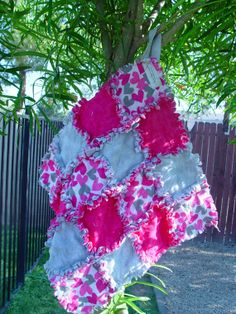 Pink And Gray Heart Security Blanket Ragged Quilts  by AuntBugs, $18.00