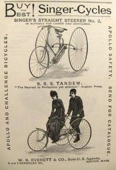 1887 Singer Cycle Ad ~ Tandem Bicycle