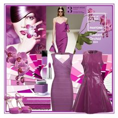 """""""Color of the Year 2014: Pantone Radiant Orchid"""" by sylandrya ❤ liked on Polyvore featuring moda, Pantone, Sephora Collection, Antipodium, Hervé Léger i Jimmy Choo"""