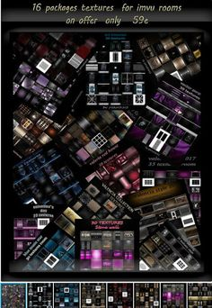 16 packages textures for imvu creator rooms on offer TODAY - Dmca by Do not claim as your own Do not Share these textures. Do not Sale any of my textures NO resale rights unless you buy them Textures may only be used on ONE IMVU account. Imvu, Packaging, Texture, Creative, Rooms, Friends, Surface Finish, Bedrooms, Amigos