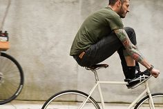 White & Brown bycicle tattoo tatted green t shirt fashion men tumblr style streetstyle beard