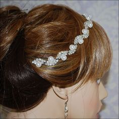 Bohemian Pearl &  Rhinestone Silver Plated Scallop Bridal Headband Bridal head piece Wedding Bridal hair piece Bridal headpiece Choose Ribbon Color $68.00