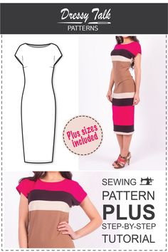Dress Pattern - Simple Dress Pattern - T-shirt Dress Pattern - Easy Dress Patterns - Dress Patterns for Women - Plus Size Patterns by DressyTalkPatterns on Etsy