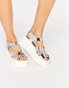 Pull&Bear | Pull&Bear Silver Platform Sandals at ASOS