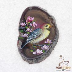 HAND PAINTED FLOWERS&BIRDS GEMSTONE FASHION NECKLACE PENDANT BEAD D1704 0271 #ZL #PENDANT