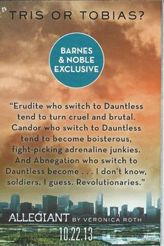 Barnes and Noble Release Two New Quotes From Allegiant