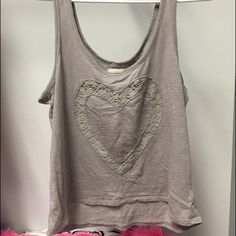 ($7) AE crop Grey, I guess u could say the heart is somewhat see through? Worn TWICE  I ALSO USE MERCARI♥️ $7 + $4 shipping American Eagle Outfitters Tops
