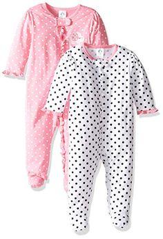 38ab499ac9 Gerber Baby Girls  2 Pack Zip Front Sleep  n Play