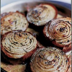 Onions, baked with rosemary and cream, are the ultimate side for a homemade steak dinner. From @Saveur, found at www.edamam.com.