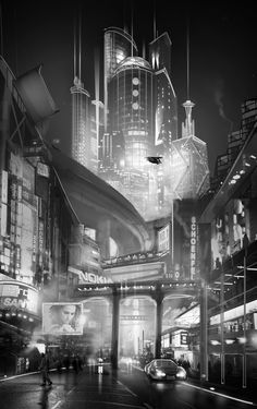 Cityscape 1 by ~Hazzard65, cyber city, cyberpunk, futuristic city
