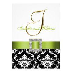 green black and white weddin invitations | ... wedding invitation design a black and white floral damask pattern