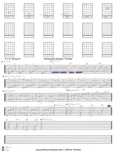 Hollywood Undead Young Guitar Tab by Jeffrey Thomas. Learn to play this song right with my free guitar tab and Skype lesson! Schedule lesson on site.