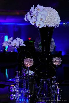 Beautiful black and bling wedding centerpieces.