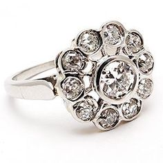 ECO FRIENDLY FLOWER MOTIF VINTAGE ENGAGEMENT RING OLD EURO DIAMOND SOLID PLATINUM