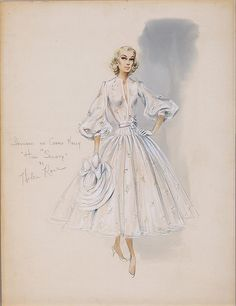 """Helen Rose´sketch for Grace Kelly in """"High Society"""" 1956 The sketch is for the wedding dress featured in the film. Dress is on display at McCord Museum, Montreal until Oct 6/13, then it travels to Doylestown,PA for an exhibit at the Michener Museum."""