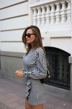 matchy gingham looks - Lady Addict Dress Skirt, Shirt Dress, New Shape, Wide Leg Trousers, Zara Black, Casual Chic, Gingham, Summer Outfits, Vintage Fashion