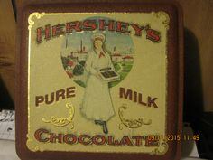 vintage edition #2 Pure Milk Chocolate Hershey girln 1992 signed M S Hershey tin can the style used in beginning 1915. approx 6 1/4 x 6 1/4 by colonialvintantiques on Etsy