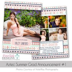 Aztec Summer Graduation Announcement COLLECTION- 5 custom photo templates for photographers and trifold Graduation Announcement Cards, Graduation Announcements, Graduation Templates, Mint And Navy, Photo Displays, Custom Photo, Photo Cards, Photoshop, Summer