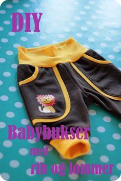 Hermed mønster samt vejledning til, hvordan du syr et par babybukser i str. nyfødt - dvs. str 50/56. Du kan forlænge benene samt læ...