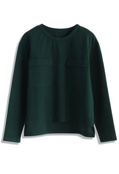 Ring A Bell Suede Top in Dark Green - Retro, Indie and Unique Fashion