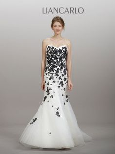black & white wedding dress from Liancarlo - Utah