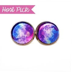 HP!  Galaxy Nebula Earrings Handmade earrings with galaxy nebula images under glass domes. Bundle 3 pairs for $12, comment with your choices or create a bundle to get discount. ❤️. Customer photos shown for size comparison only. Handmade Jewelry Earrings