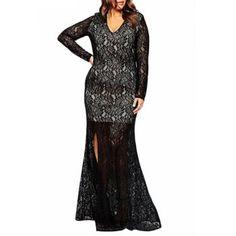 Plus Size Plunging Neck Long Sleeve High Slit Lace Dress