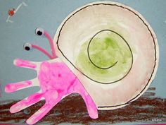 Tippytoe Crafts: Eric Carle: A House For Hermit Crab Cut part of a paper plate off where the crab would go & draw a swirl to make it look like a shell. Paint plate with watercolors.  Crab is a handprint with red or pink paint, small pieces of pipe cleaners for the eye stalks attached to the handprints with masking tape & wiggle eyes attached to the eye stalks with glue dots. Draw underwater scene on light blue paper using oil pastels. Glue hermit crab to the underwater scene.