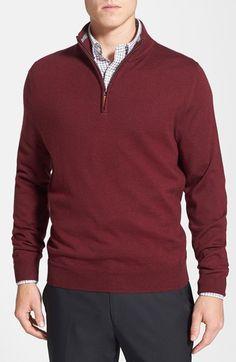 Contemporary Business Casual for Men - Half Zip Merino Wool Sweater - Bordeaux / Marsala