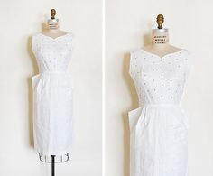 vintage 1950s dress / 1950s wiggle dress / white by cutxpaste