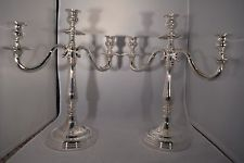 ANTIQUE HAND MADE ITALY STERLING SILVER set CANDLE HOLDER pair CANDELABRA