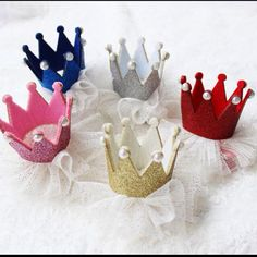 Lace crown hair clips - perfect for monthly photos for baby. Attach to hair or headband if baby is bald