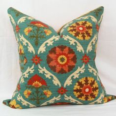 Teal orange yellow & red floral decorative throw by JoyWorkshoppe