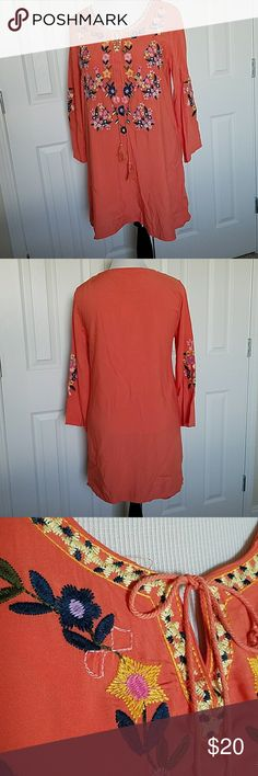 NWT Velzera embroidered tunic Brightly embroidered tunic, long sleeve, rayon. Color is more shrimp than orange. Velzera Tops Tunics