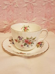 Large Minton Marlow pattern large breakfast cup and saucer pink green floral vgc by AgoodvintageBoutique on Etsy