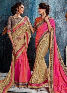 Sensational Hot Pink Classic Designer Saree