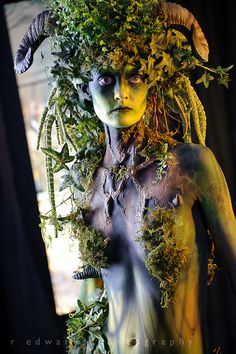 Fairy forest green faerie woman - fantasy fairytale art photography & make up - Ram horns / horned goddess - Photoshop World Fall 2011 by Edwarr, via Flickr