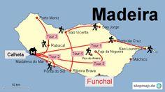 Bild: Karte von Madeira mit den 5 Wanderrouten
