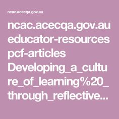 au educator-resources pcf-articles Supporting_leaders_in_child_care. Reflective Practice, Facts For Kids, Positive Behavior, Expressions, Culture, Early Childhood Education, Creative Kids, Early Learning, Health And Safety
