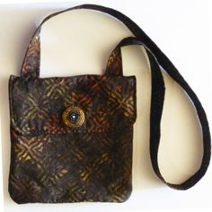 Multicolor Black and Browns  Heart Batik Print  Messenger Bag