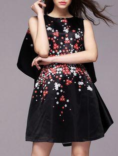 Vestido cuello redondo flores -negro 45.07