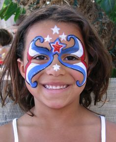 Red, White and Blue Mask Face Painting
