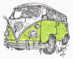 Vw Camper Van Painting  - Vw Camper Van Fine Art Print