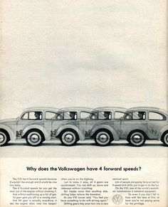 1963 Volkswagen Advertising Car and Driver March 1963  Great use of repetition to prove a point.