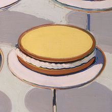 """Wayne Thiebaud, Cakes (detail), 1963  """"I have to confess, you're never really convinced of what you are doing...you keep hoping"""""""