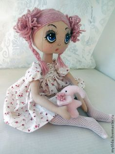 Коллекционные куклы ручной работы. Ярмарка Мастеров - ручная работа Малышка с Розовым Слоном. Handmade.