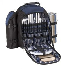 A backpack containing, utensils, blanket, wine cooler and instruments for food preparation.  www.capeunionmart.co.za Picnic Backpack, Mountain Biking, Outdoor Gear, Cape, Hiking, Camping, Backpacks, Food Preparation, Utensils