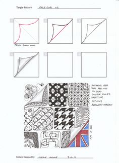 Page Curl V1 | Flickr - Photo Sharing! Lizzie Mayne ... More zentangle patterns on her page. Drawing, doodle