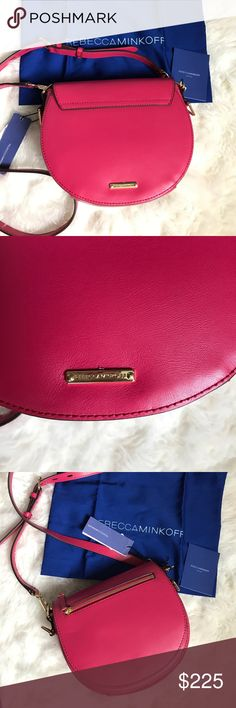 """Rebecca Minkoff Leather Saddle Bag NWT Brand new with tags and flawless. Bright pink saddle bag by Rebecca Minkoff. Gold hardware. Genuine leather. Lined. Comes with original dust bag and care cards. Interior slip pockets and exterior zip pocket. Adjustable/removable shoulder strap with 23"""" drop. Rebecca Minkoff Bags Shoulder Bags"""
